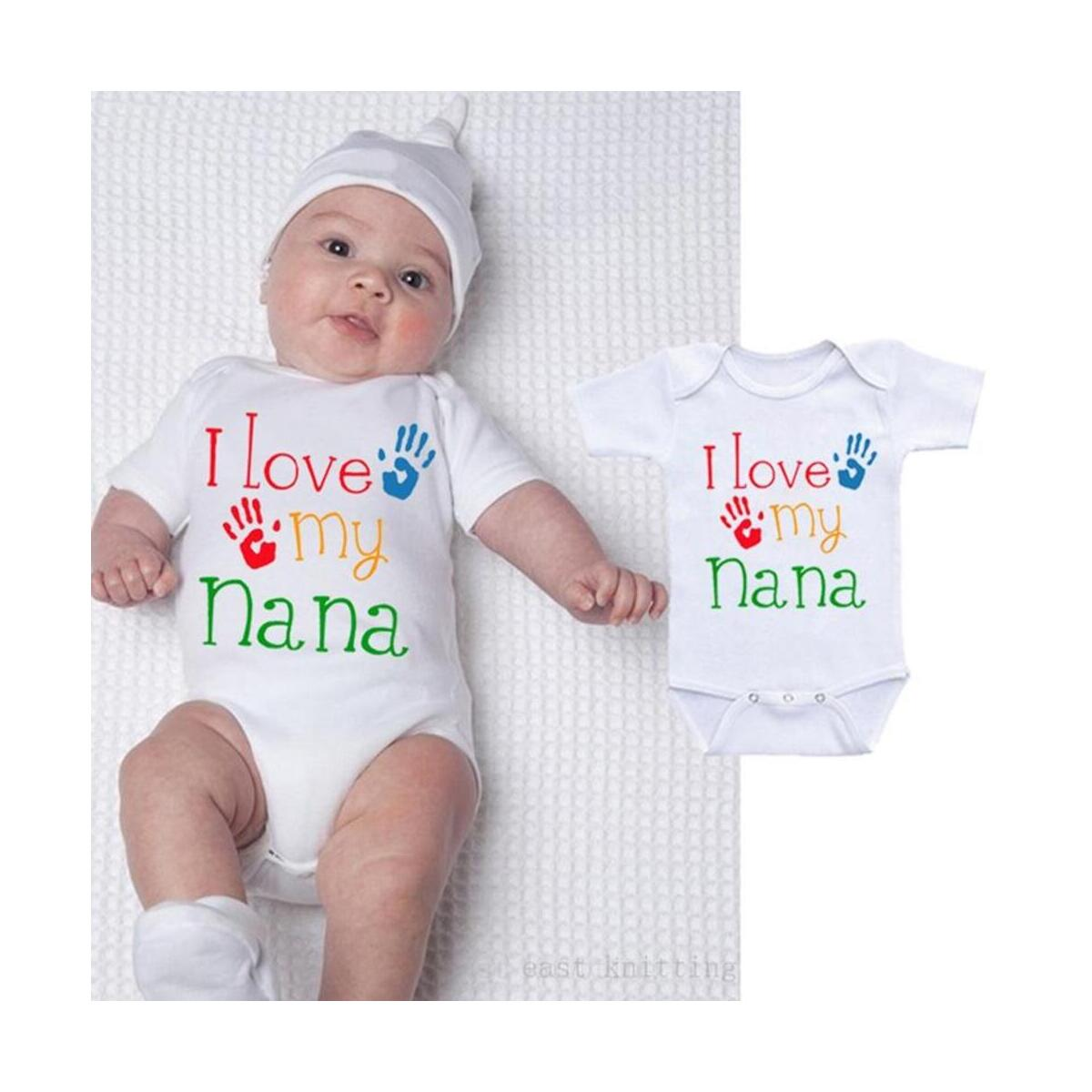 I Love My Nana Best Shower Gift Cute Fun Message Funny Baby Bodysuit Onesie Infant
