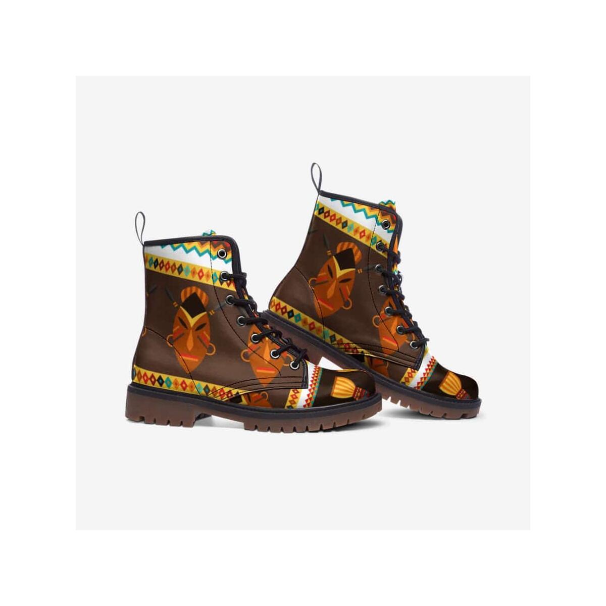 African Djembe Masks Leather Lightweight boots MT, 5.5 Women / Black