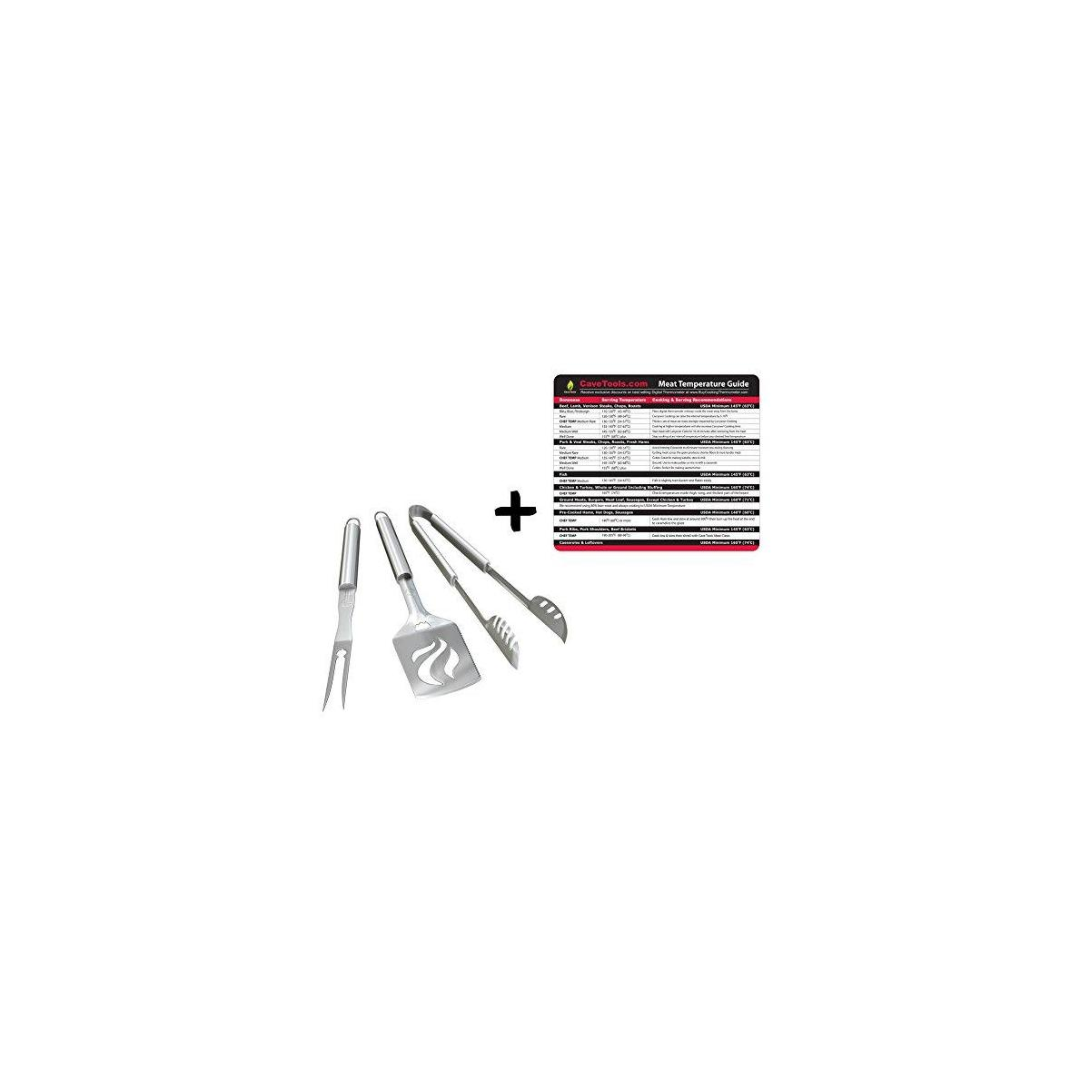 Temp Guide + BBQ Grill Tools Set - HEAVY DUTY 20% THICKER STAINLESS STEEL - Professional Grade Barbecue Accessories - 3 Piece Utensils Kit with Spatula Tong & Fork - Unique Birthday Gift Idea For Dad