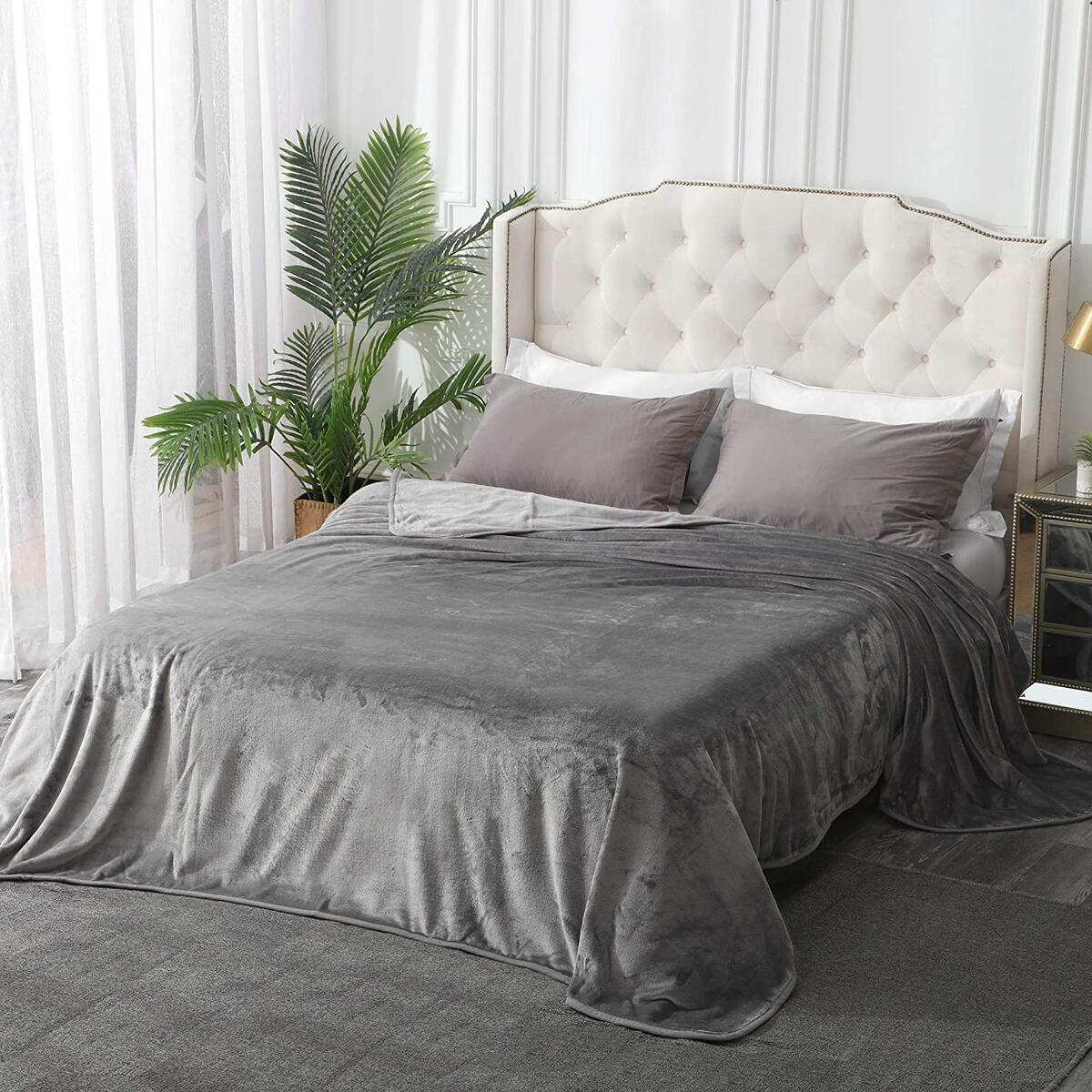 Leeden Ultra Soft Fleece Blanket King Size All Season Bed Blankets Throws for Couch Sofa Plush Warm Fuzzy Anti-Static Lightweight Flannel Microfiber (Light Grey,108
