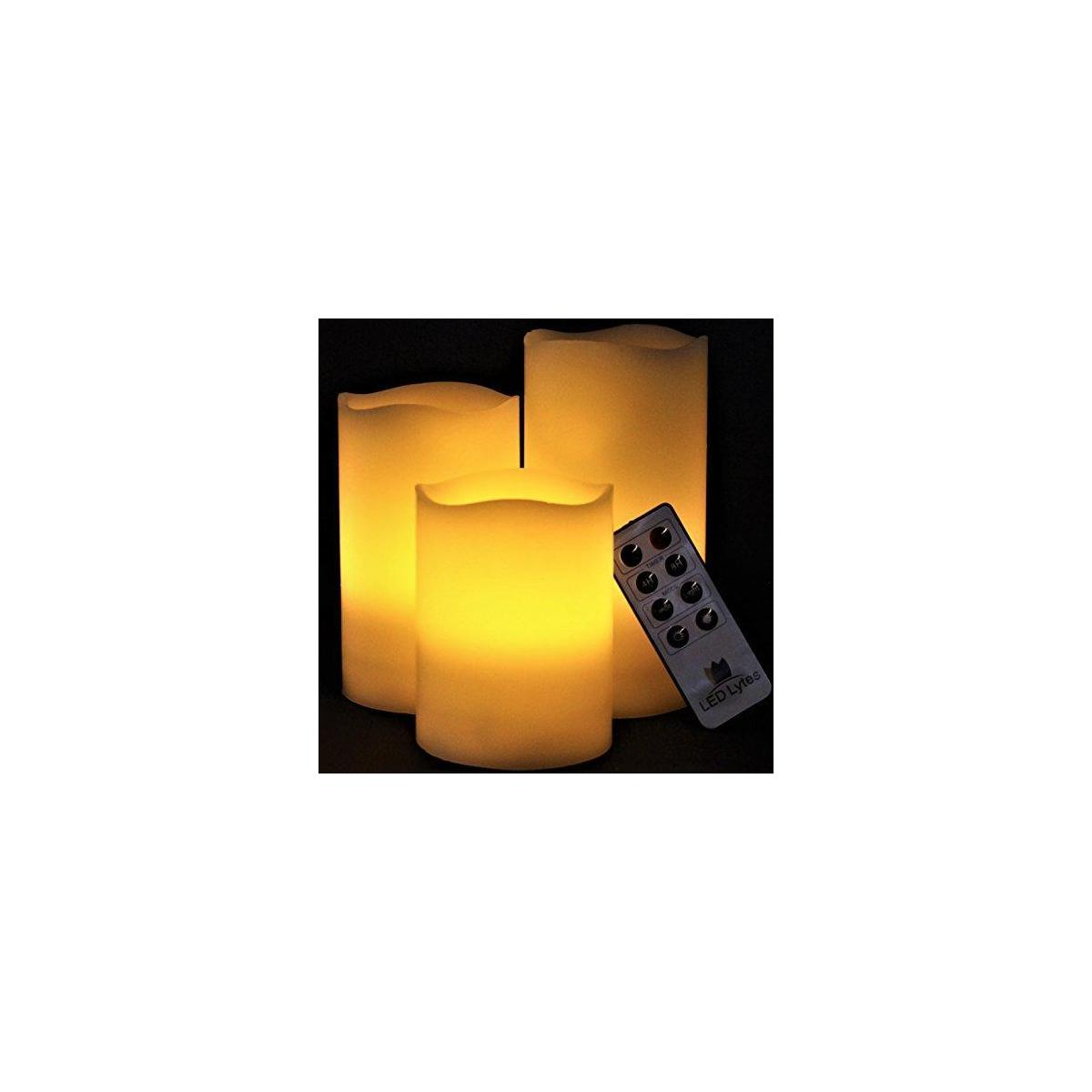 Set of 3 Ivory Wax Pillar Candles with  Amber Flame and Timer Remote Control