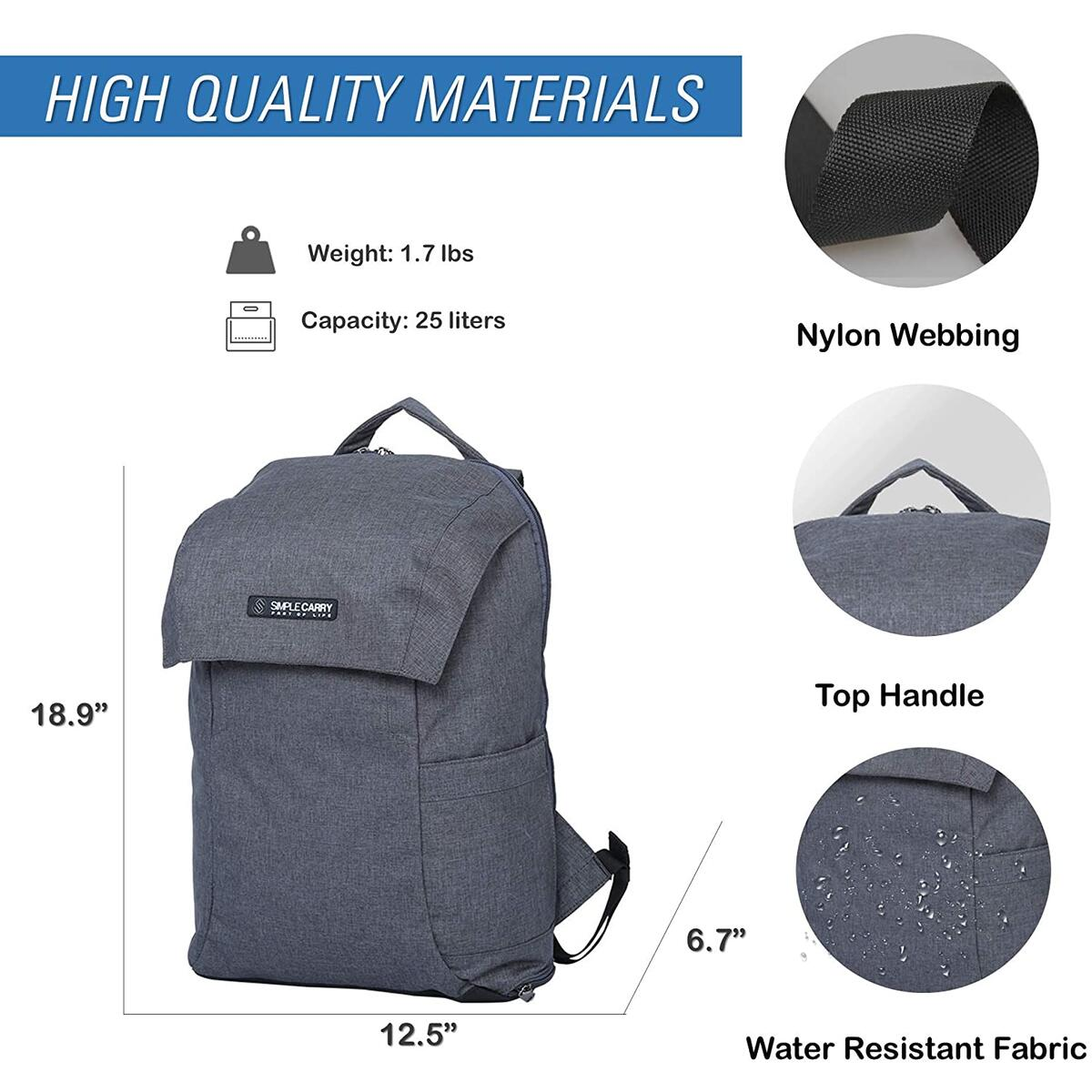 SIMPLECARRY Mattan2 Office College School Travel Hiking Backpack – Daypack for Camping, Running, Climbing– Water Resistant and Durable - Perfect for Men and Women (Grey)