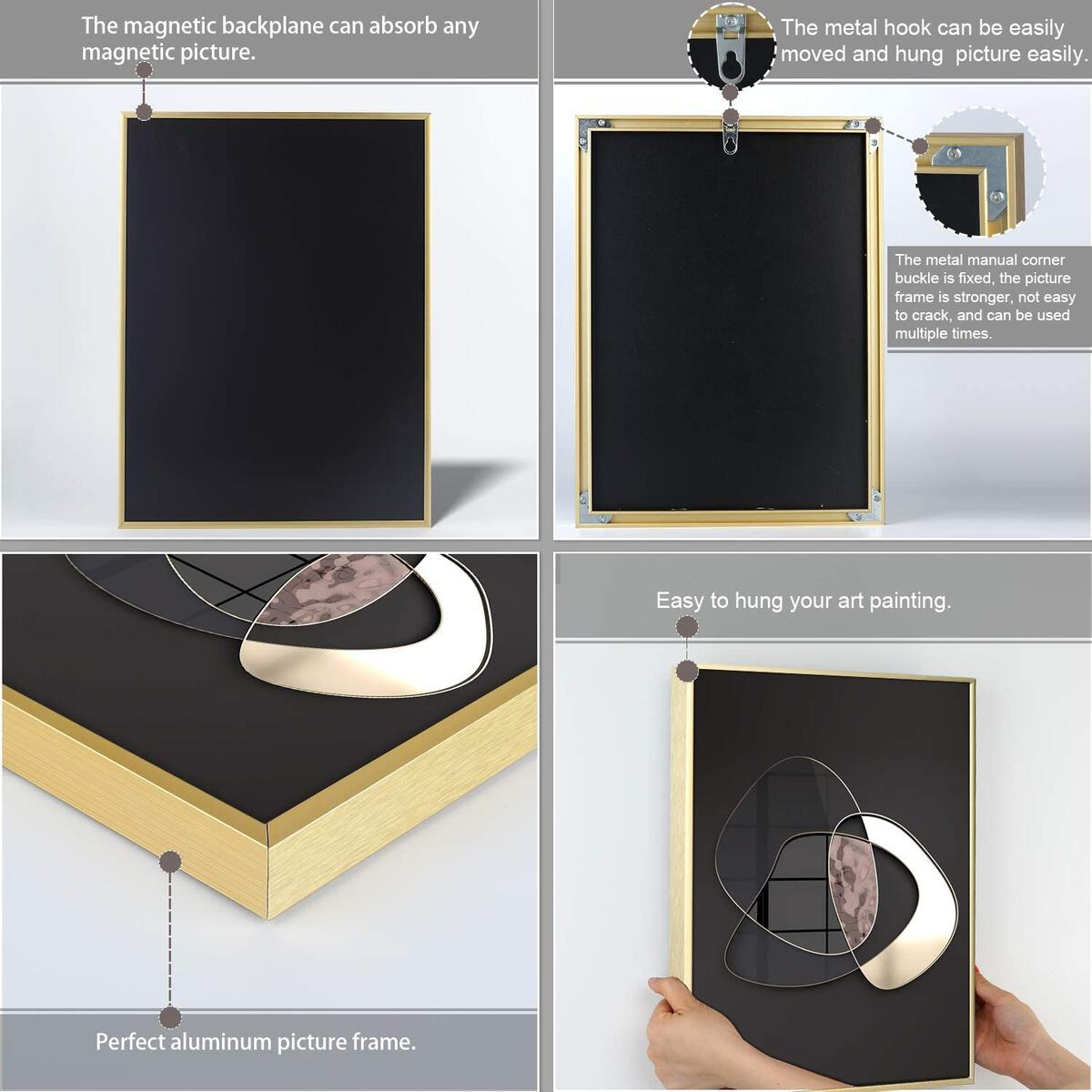 Archome 11x14 Picture Frame, Waterproof Picture Frames with Free Magnetic Wall Decor Picture, Aluminum Gold Frame with Magnetic Mat for 8x10 Picture for Wall Mounting