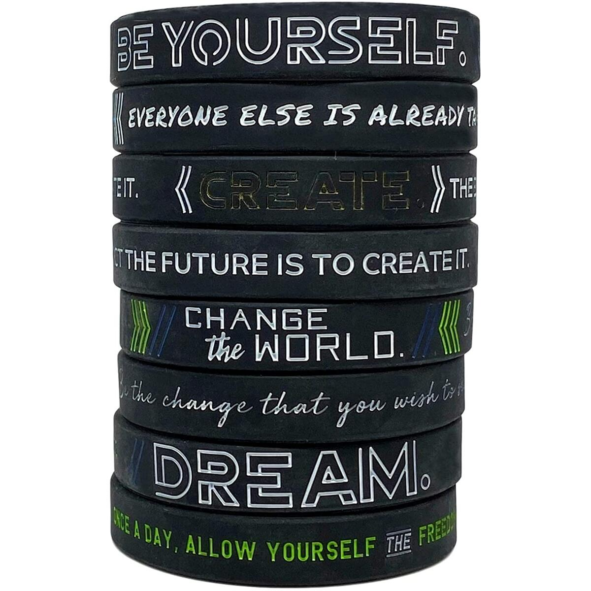 (12 Pack) - Motivational Silicone Wristbands - Be Yourself, Change The World, Create, Dream - Wholesale, Bulk Inspirational Bracelets - Unisex Gifts for Men Women Adults Teens