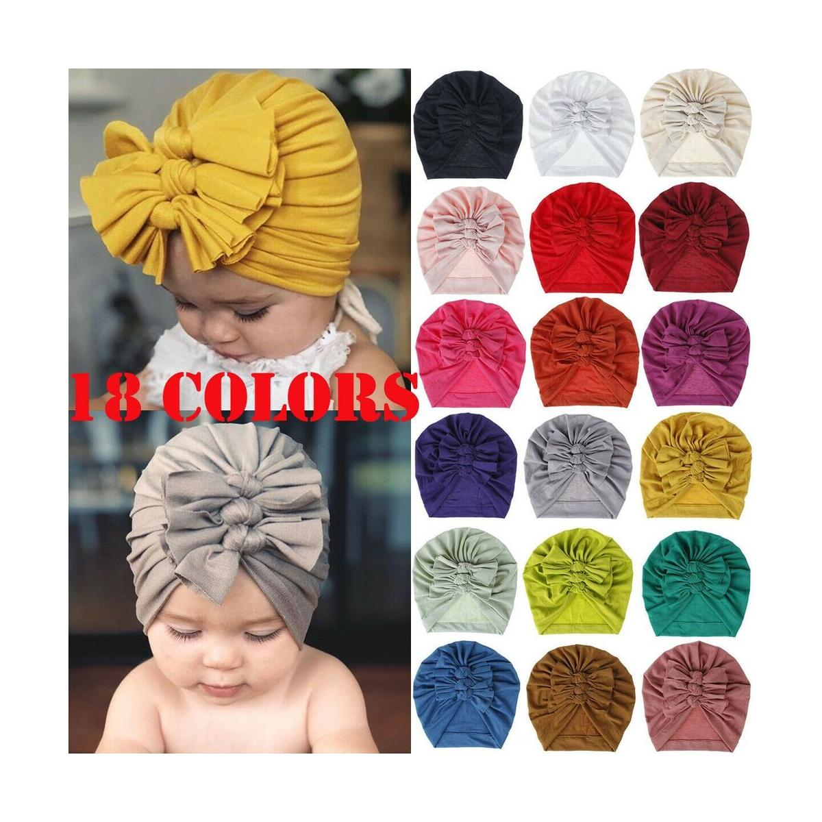 Baby Girls Big 3 Bowknot Winter Turban Hat Solid Color Cotton Beanie Cap \