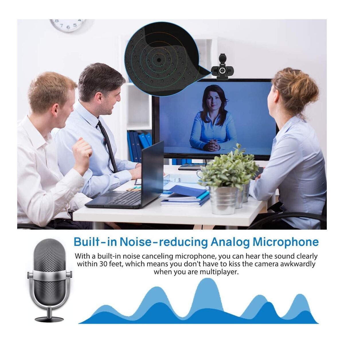 1080P HD Webcam with Privacy Cover & Tripod
