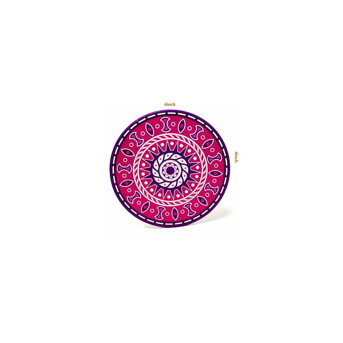 Absorbing Stone Mandala Coasters for Drinks, Set of 6 Multicolors Absorbent Stone Coasters with Holder, 4 Inches Ceramic Coasters for Drinks with Cork Base, Unique Gift Ideas for Friends