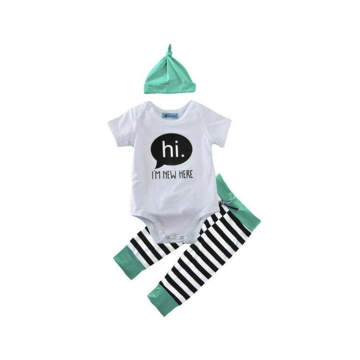 Hi Im New Here Infant Baby Boy Dinosaur Outfit Romper Pant Hat Clothes Set