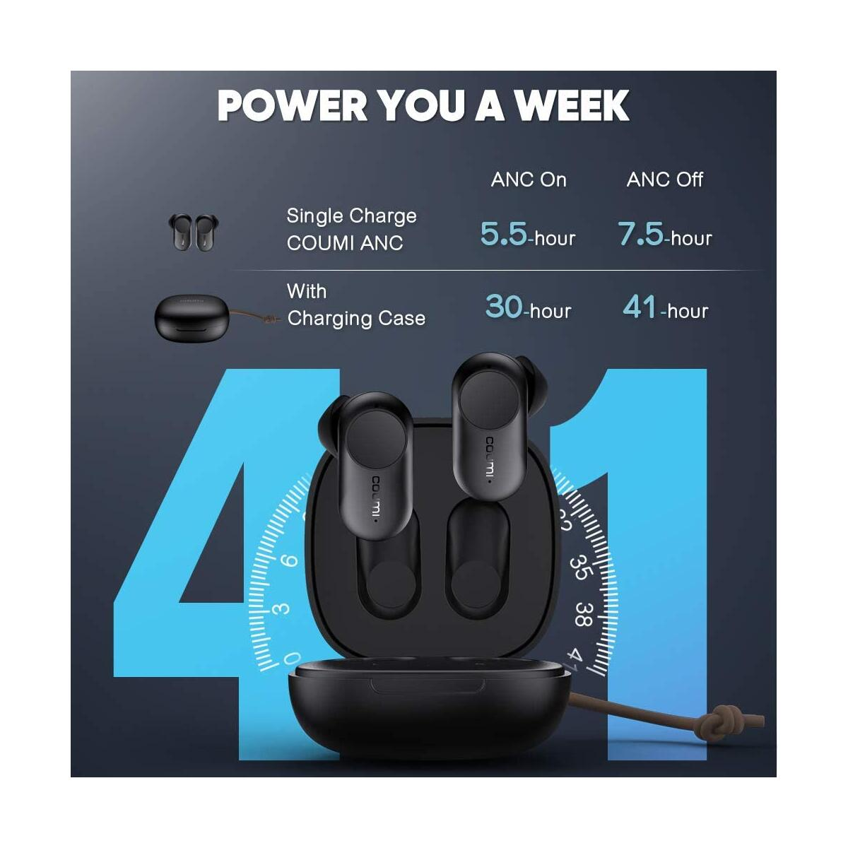 Wireless Earbuds Active Noise Cancelling, COUMI ANC-860 Bluetooth Earbuds with 6 Mics, Stereo Deep Bass Earphones, 41Hrs ANC Earbuds, IPX7 Waterproof, USB-C Quick Charging Case, Smart Touch Control