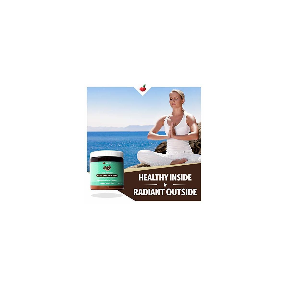 Yuve 6 Organic Mushroom Extract Powder - Magic Blend of Reishi, Chaga, Lions Maine, Turkey Tail, Maitake, Cordyceps - Add to Tea, Coffee, Smoothies - Energy Support & Immune Defense - 2.82oz