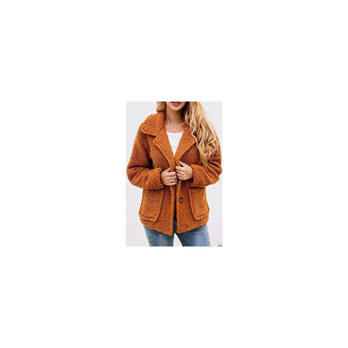 Women's Coat Casual Lapel Fleece Fuzzy Cozy Fit Cardigans Shearling Button Winter Coat Jackets with Pockets