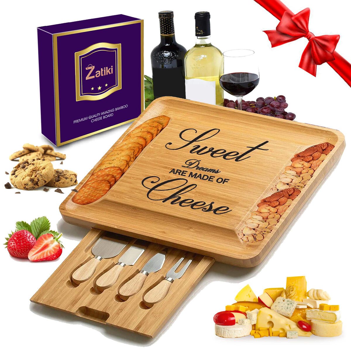 Bamboo Cheese Board and Knife Set Wood Charcuterie Platter Serving Tray with Cutlery in Slide-Out Drawer for Cheese, Wine, Meat(I Love You Mom)