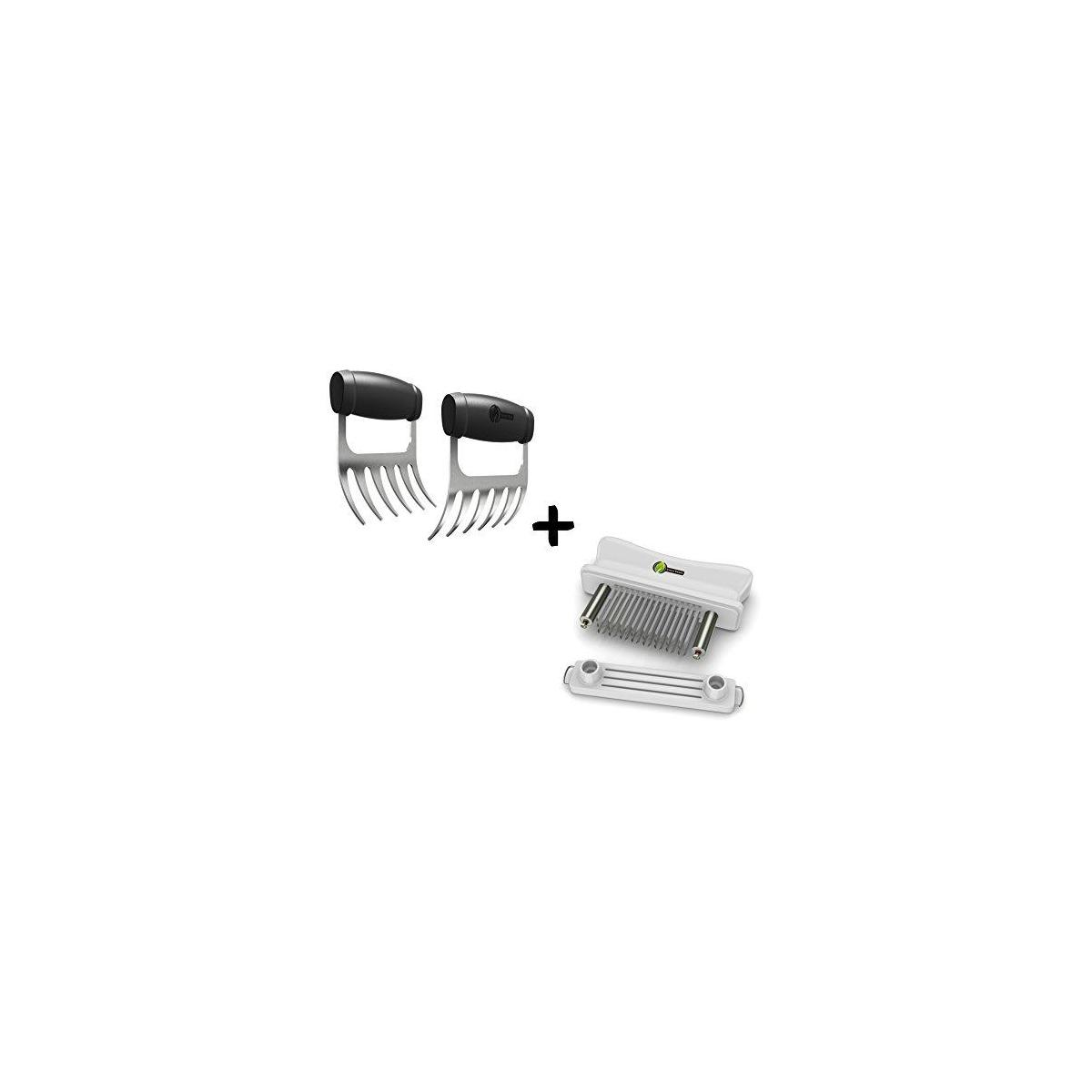 Meat Claws - Stainless Steel Pulled Pork SHREDDERS + Blade Tenderizer - Unique Puncture Pair Design - Needles Tenderize Chicken Steak & Other Meats - Dishwasher Safe Kitchen Tools & Cooking Gift Idea