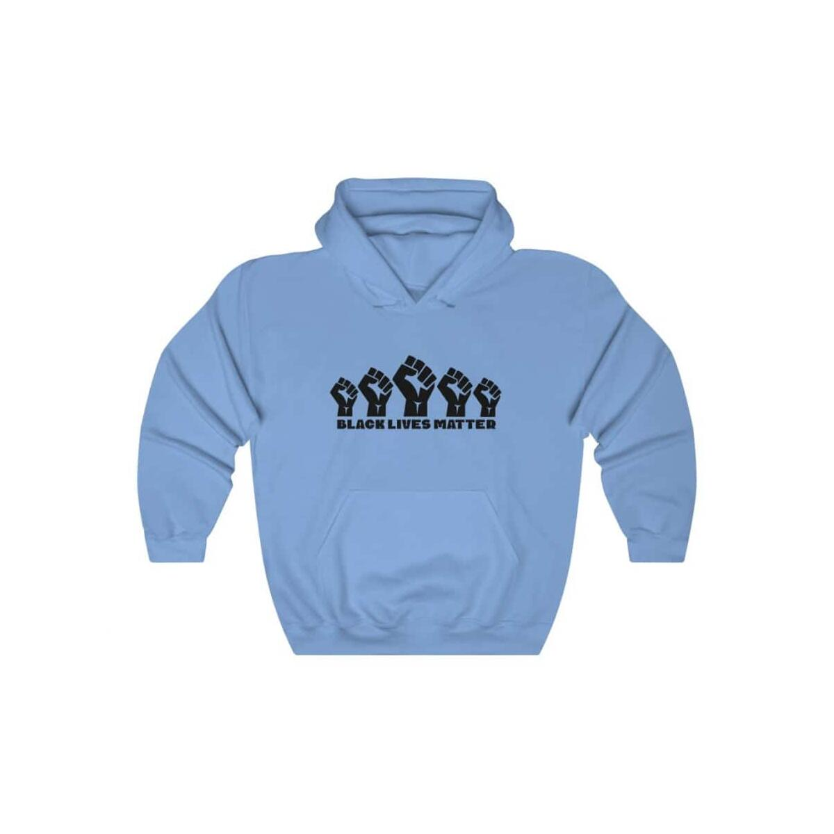 Afrocentric 5 Fists Hooded Sweatshirt, Carolina Blue / L