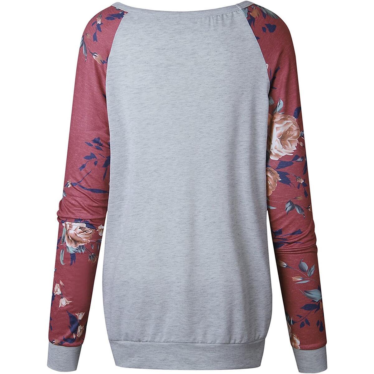 Minipeach Women's O Neck Long Sleeve Floral Print T-Shirts Casual Blouse Tops