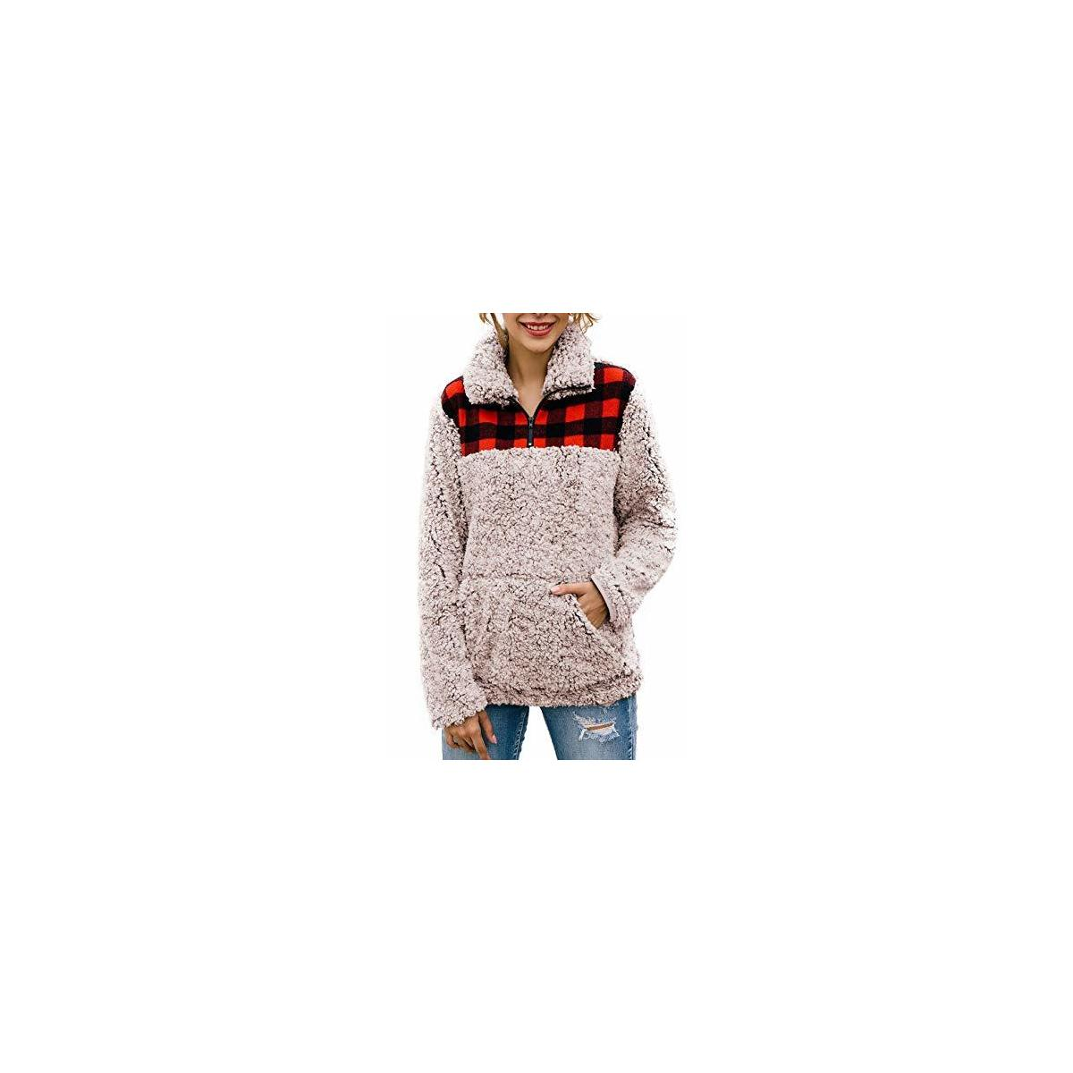 Women's Warm Fleece Color-Block Plaid Print Fluffy Sherpa Jacket Half Zipper Pullover Sweater with Pockets