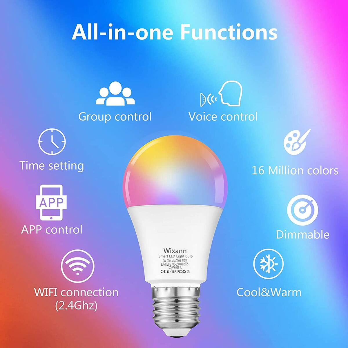 Alexa Smart WiFi Light Bulb, 9W RGBCW Color Changing Led Bulb Works with Alexa Echo Google Home and Siri, 2700K-6500K 900LM Dimmable A19 E26 80W Equivalent, No Hub Required - 4 Pack