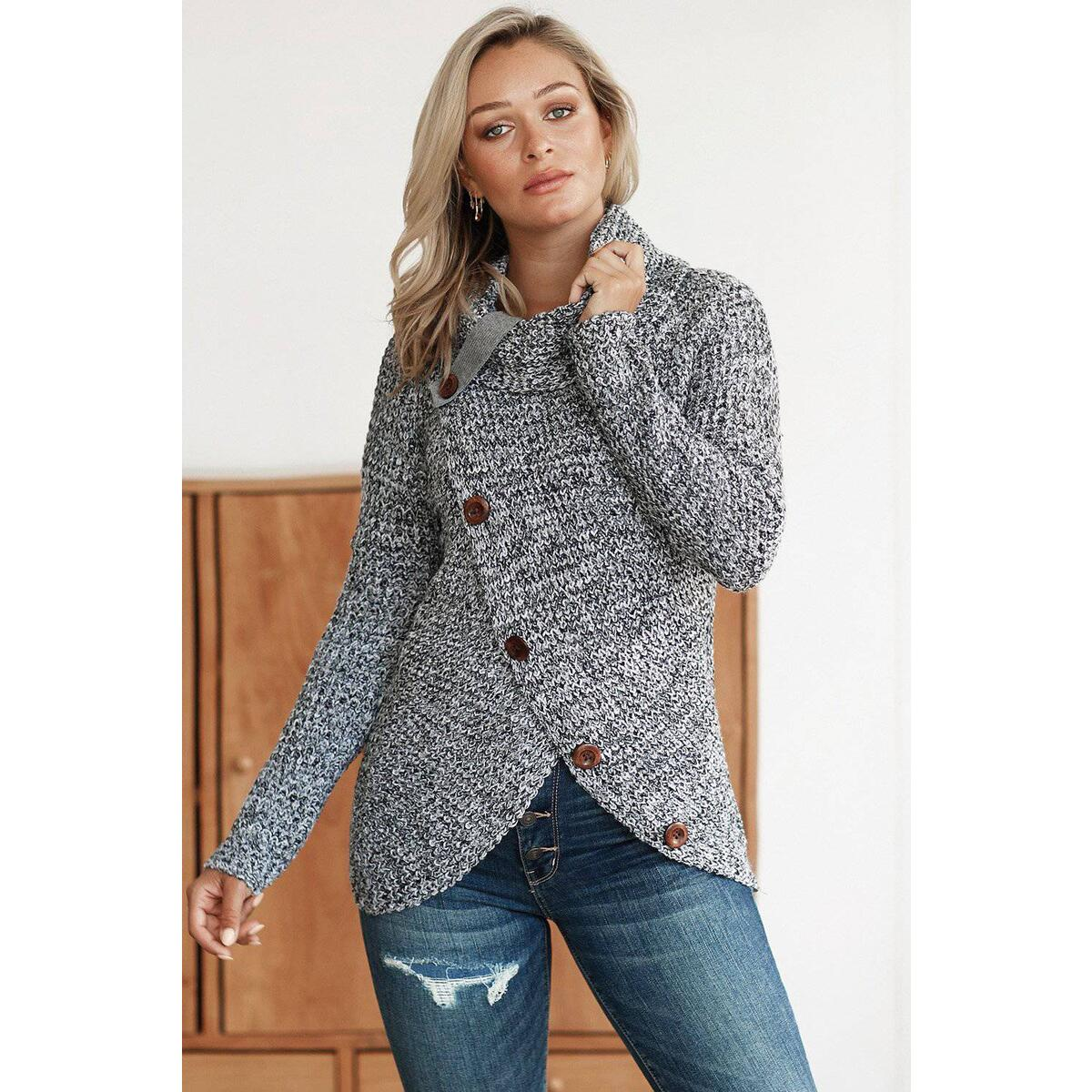 Women's Button Up Wrap Sweater, Gray / S