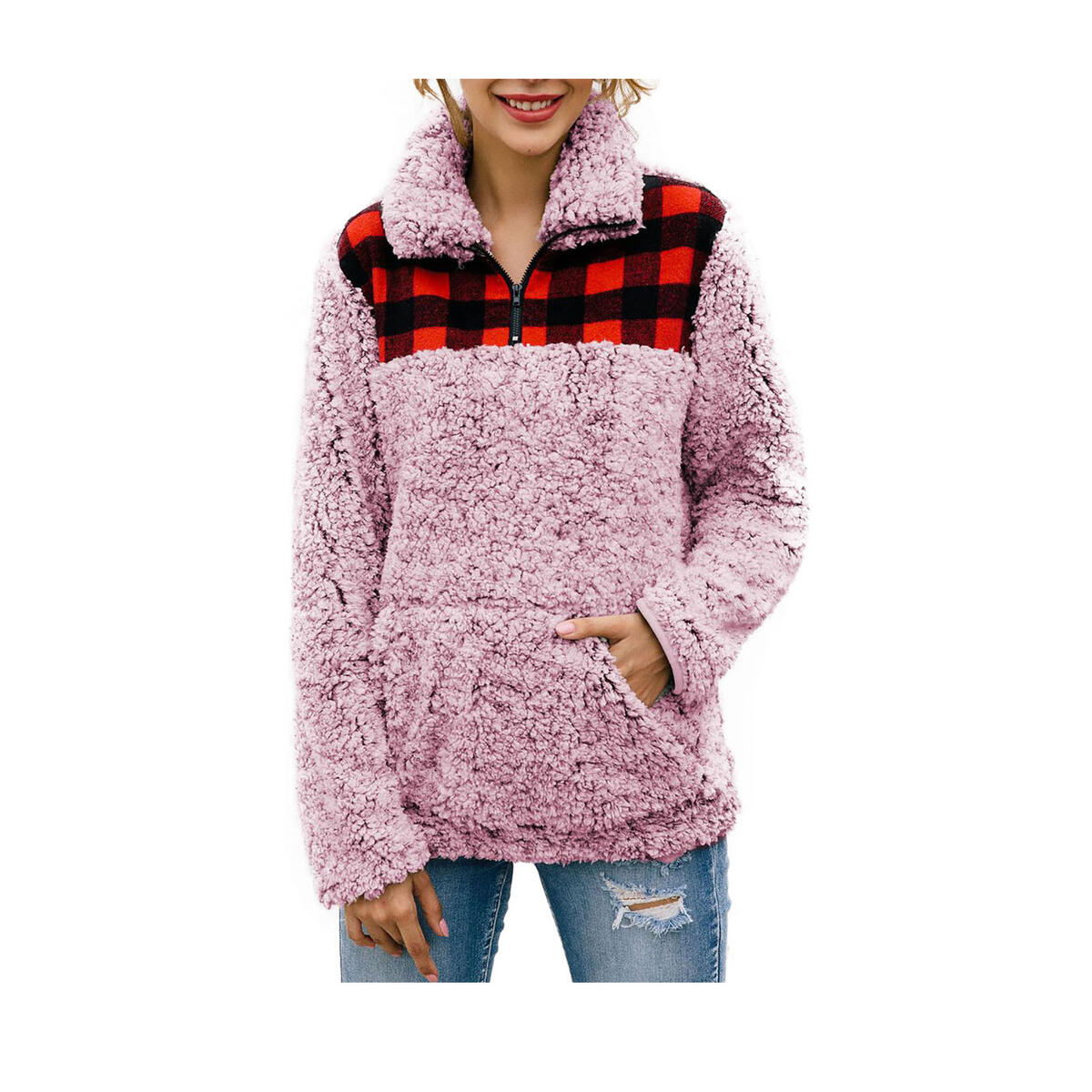 Women's Warm Fleece Color-Block Plaid Print Fluffy Sherpa Jacket Half Zipper Pullover Sweater with Pockets All