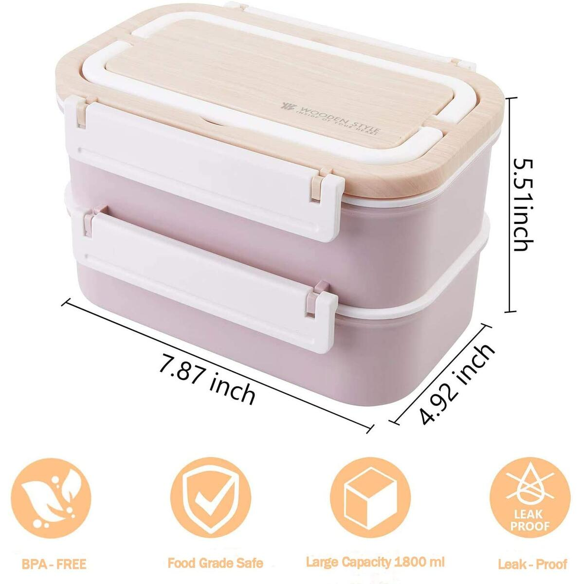 Stainless Steel Bento Lunch Box | Stackable Compartment & Bamboo &Leakproof Design Bento Box | 2-Tier Portable Insulated Food Containers with Utensil(Pink)