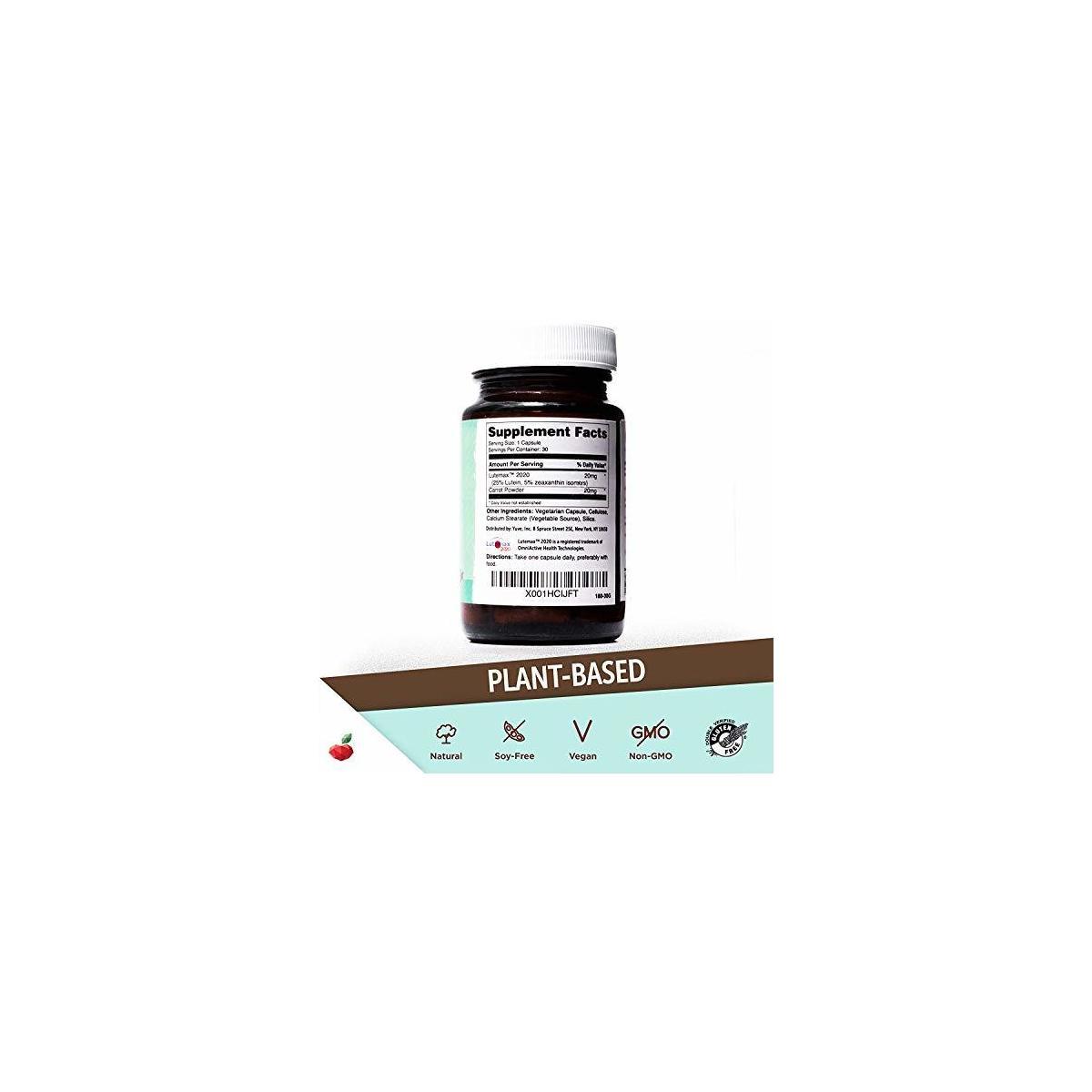 Yuve Natural Lutein 20mg Vitamin Supplement - Benefits for Dry Eyes - Reduce Eye Strain & Fatigue - Vegan, Non-GMO, Gluten-Free - Memory, Brain and Focus Booster - Lutemax 2020-30 Veggie Caps