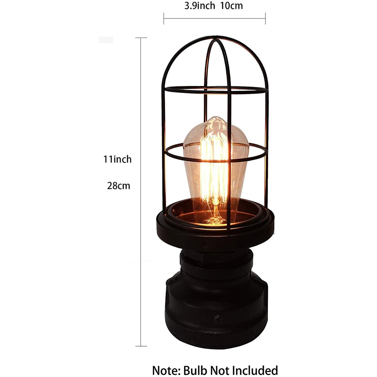 Touch Control Industrial Table LampBedside 3 Way Touch Light Dimmable Vintage Desk Lamps with Metal Wire Cage, Antique Water Pipe Steampunk Nightstand Lamp for Bedrooms