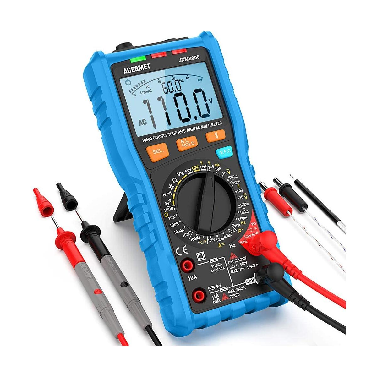Digital Multimeter, ACEGMET TRMS Auto/Manual Ranging Multimeter Tester AC/DC Current, Voltage Meter Measures Resistance, Frequency, Temperature, 10000 Counts Volt Meter NCV with LCD Backlit Display