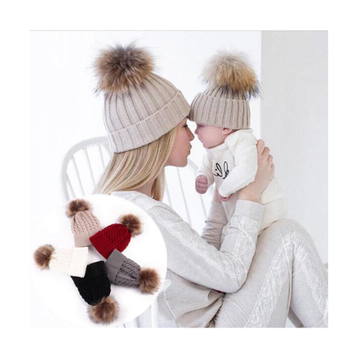 Mom and Baby Winter Hat Set Parent Child Beanie Hat Family Matching Faux Fur Pompom  Caps Set