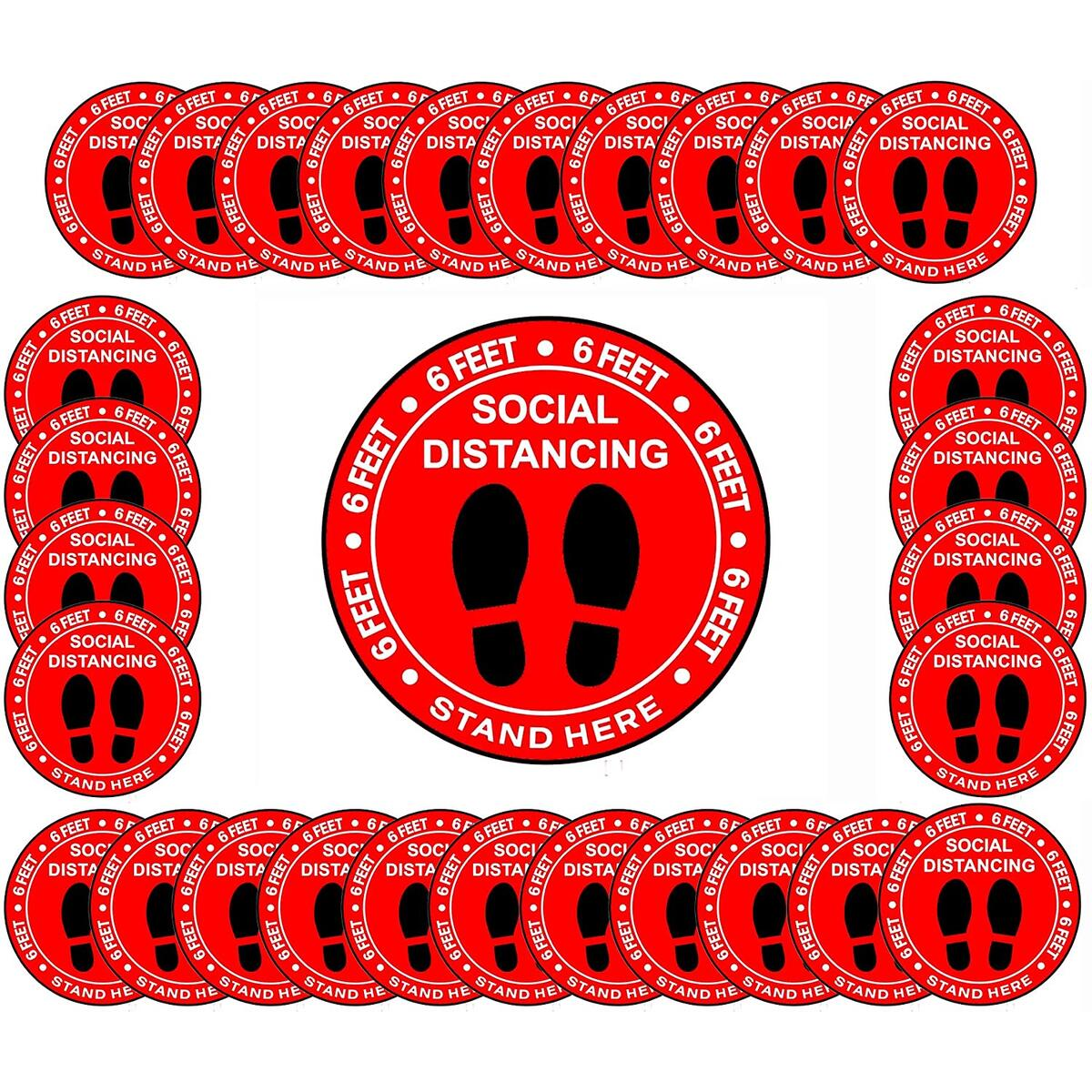 Social Distancing Floor Decoration Decals - 30 Pack 8 Inch Waterproof Safe Distance Stickers, Tear-Resistant Vinyl Crowd Control Signs, Red Floor Markers for School, Supermarket, Store, Business, Work