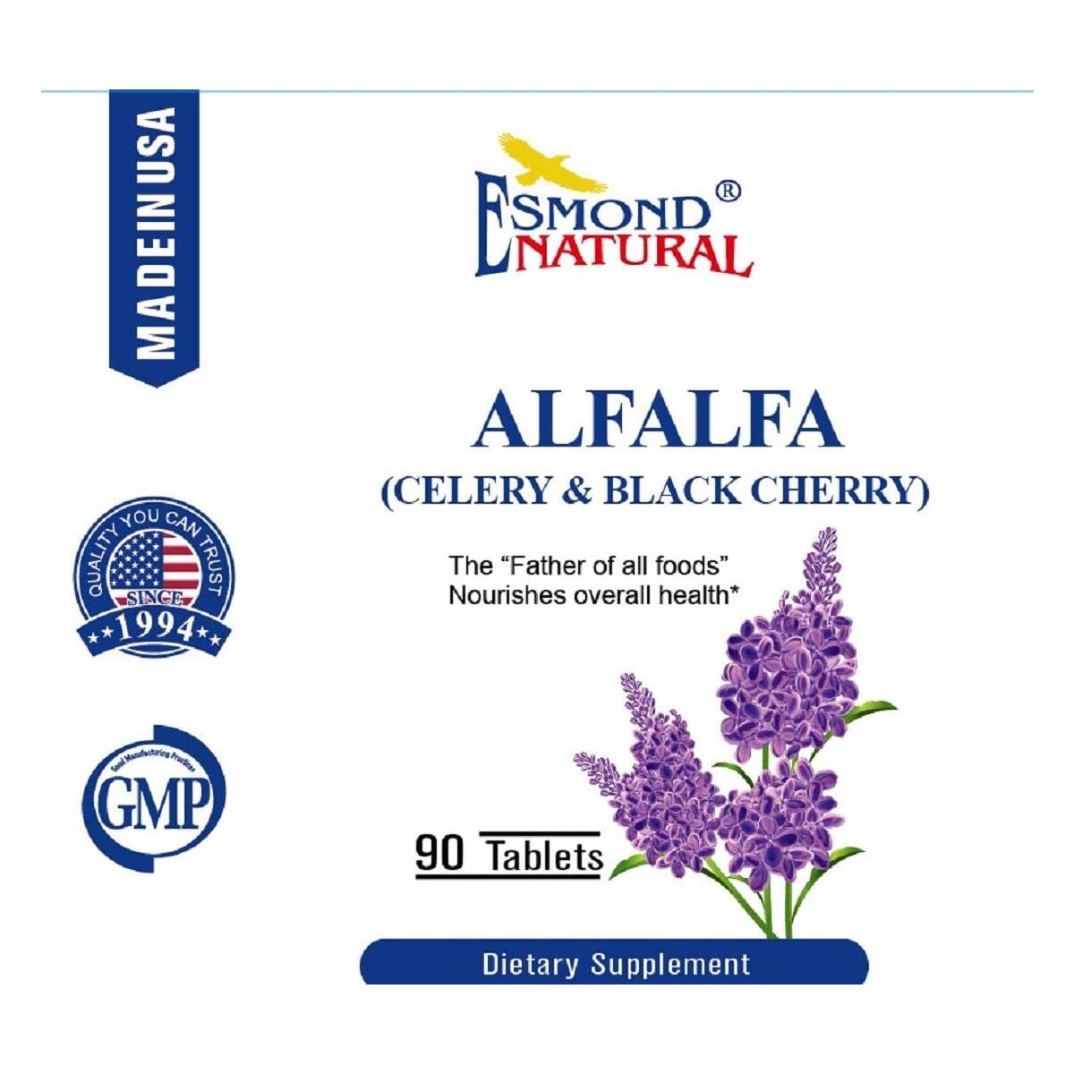 Esmond Natural: Alfalfa - Celery & Black Cherry (Nourishes Overall Health), GMP, Natural Product Assn Certified, Made in USA-1500mg, 90 Tablets