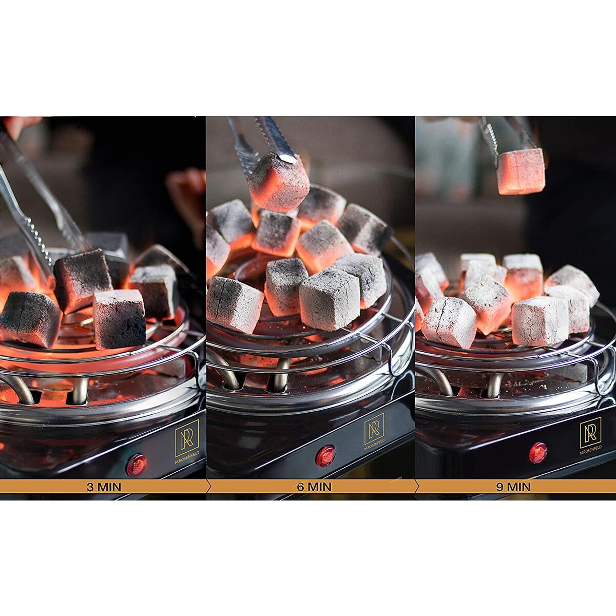 Premium Natural Coconut Hookah Coals - 84 PCS and 1.2 Kg Hookah Charcoal Cubes Low Ash Hookah Coal - 100% Hookah Accessories Shisha Narguile Coconut Shell Briquette - Square Charcoal For Hookah.