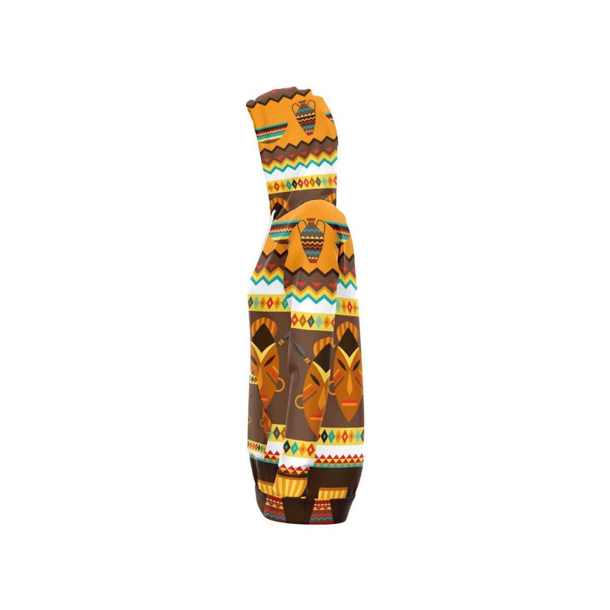 African Djembe Masks Longline Hoodie, S