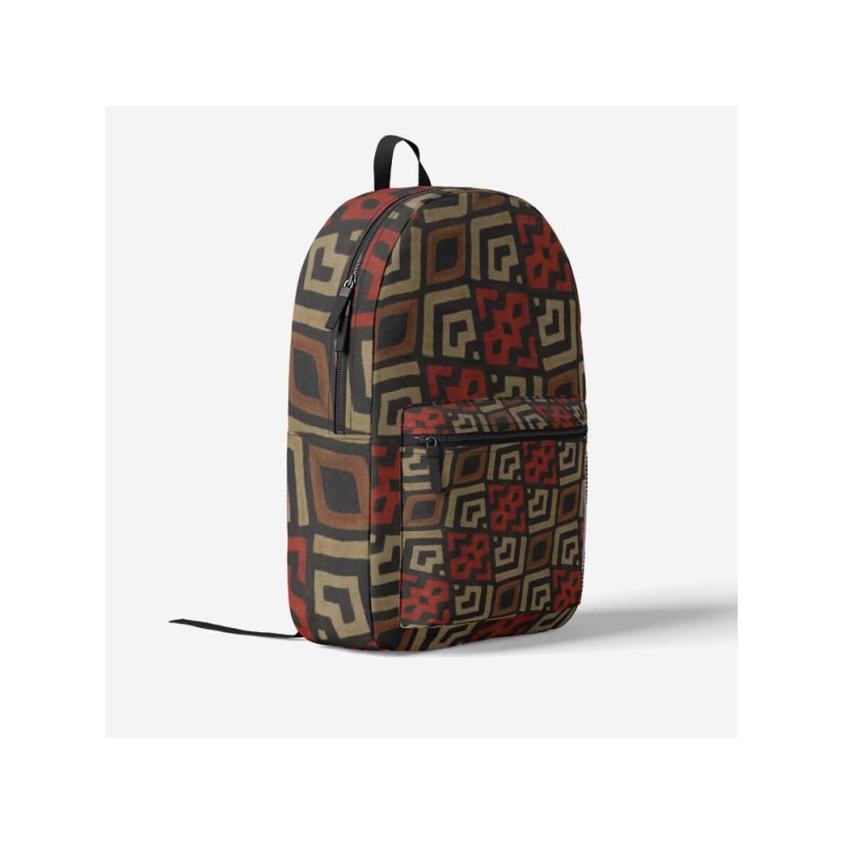 Bogolan Mystic Red Trendy Backpack, Black