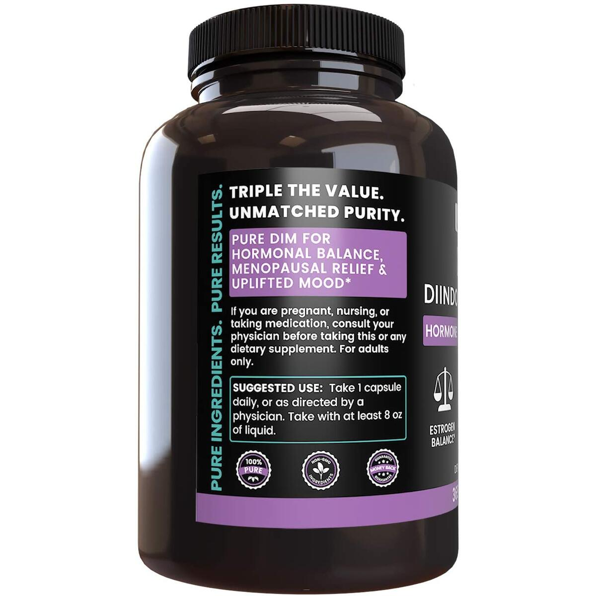 DIM Diindolylmethane, 365 Capsules, 1 Year Supply, No Magnesium or Rice Filler, Non-GMO, Gluten-Free, Made in USA, High Absorption, Undiluted Diindolylmethane with No Additives