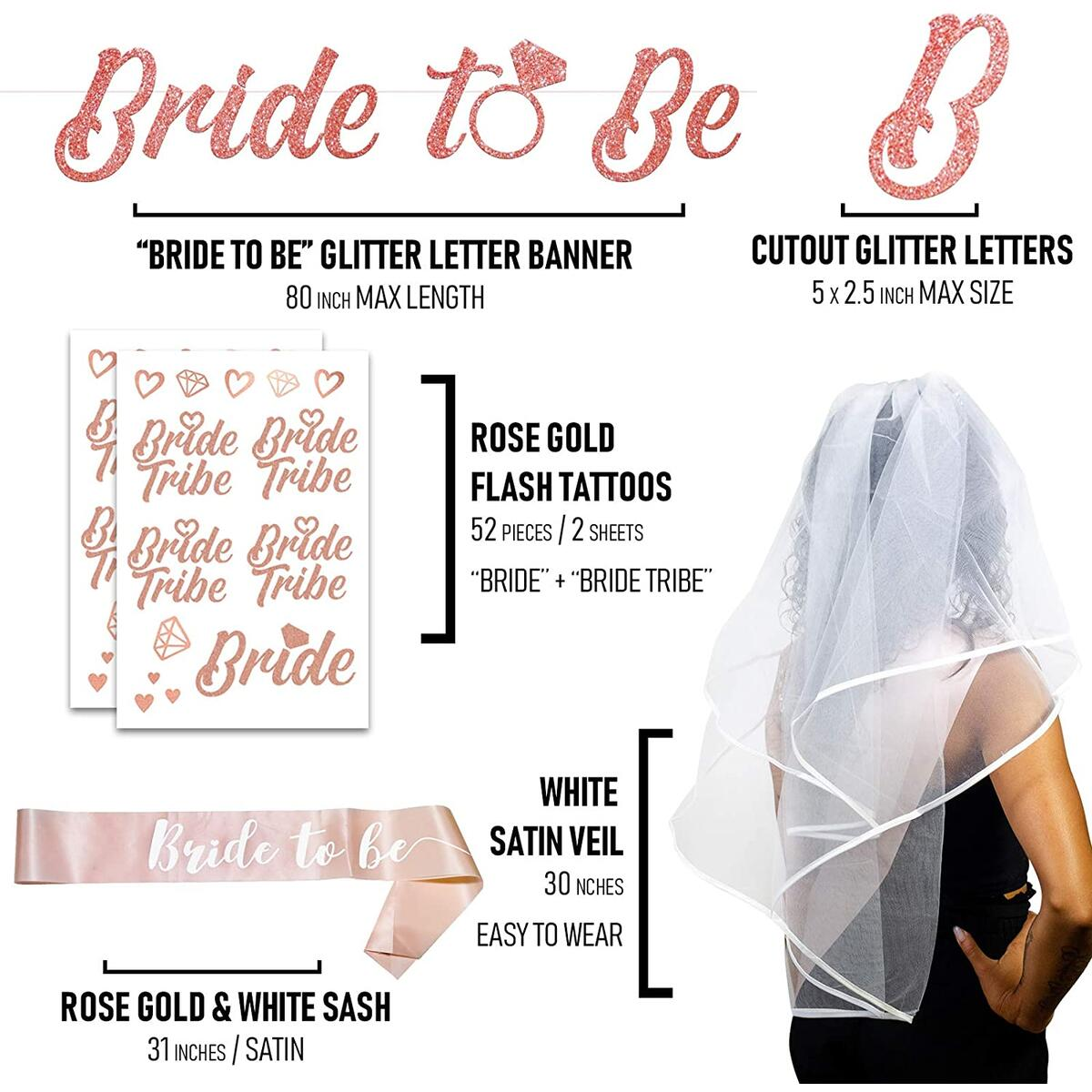 A3 DIRECT Bachelorette Party Decorations & Supplies - Rose Gold Bride to Be Sash & Banner, Tiara Crown, White Veils for Brides & 12 Bride Tribe Tattoos for Bridal Shower and Wedding Engagement Decor