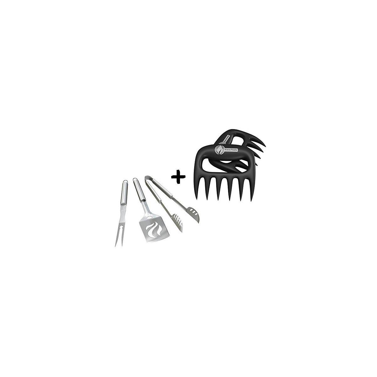 Grill Tools Set + Pulled Pork Shredder Claws - Strongest BBQ Meat Forks - Shredding Handling & Carving Food - Claw Handler Set for Pulling Brisket from Smoker or Slow Cooker - BPA Free Barbecue Paws
