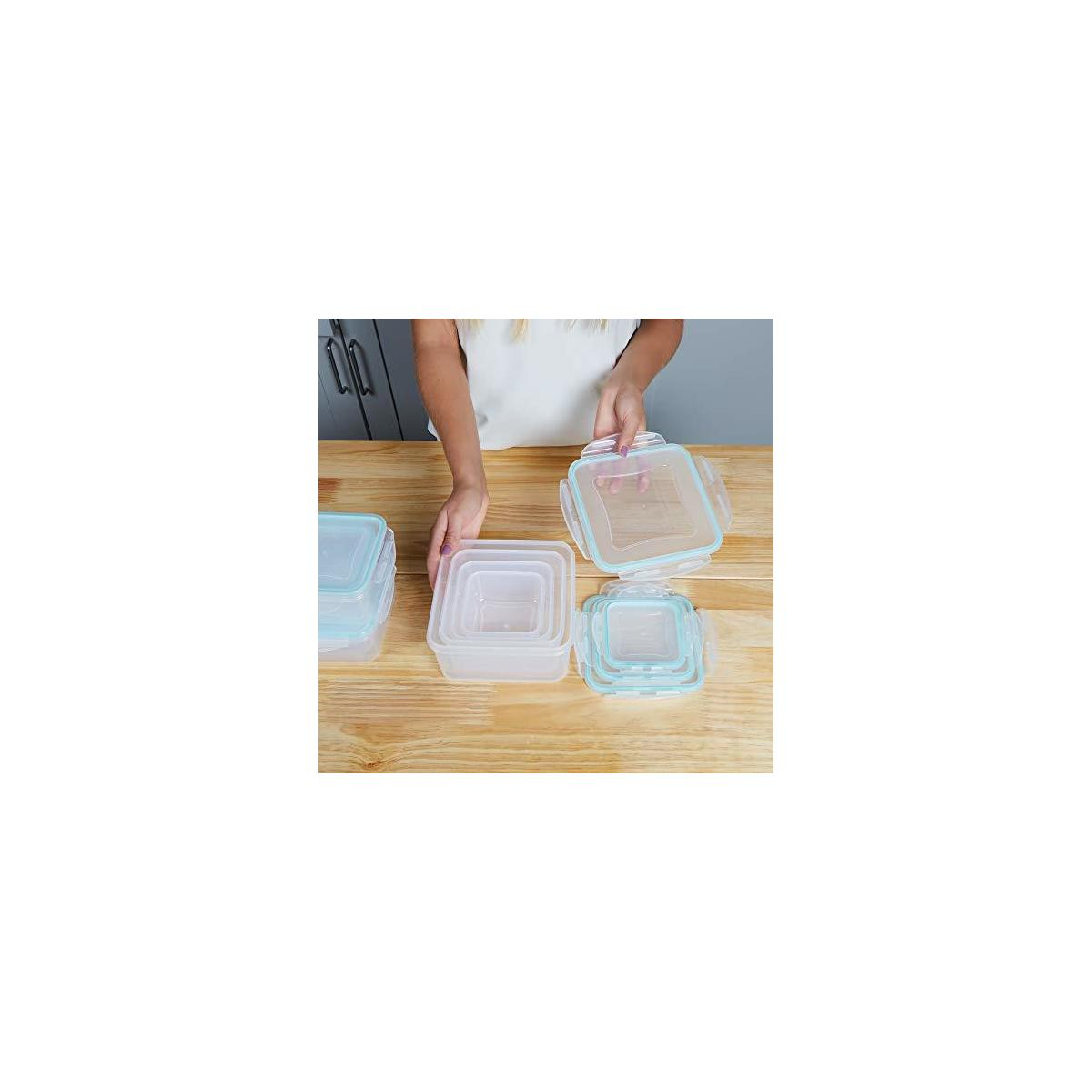 BPA Free Plastic Food Containers with Lids - Airtight & Leakproof