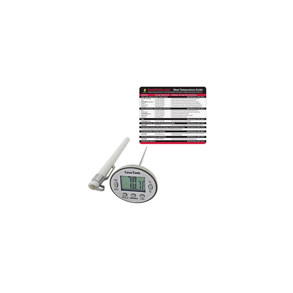 Meat Temp Chart + Digital Thermometer - INSTANT READ PROBE - For Cooking BBQ Candy Chocolate Liquids Baking & Food in Kitchen - Use on Grill Smoker or Barbecue for Quick & Accurate Temperatures