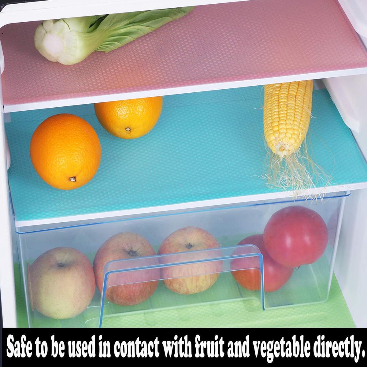 Janeart Refrigerator Mat 9 Pcs, EVA Refrigerator Liner Durable Washable Fridges Liner for Fruit and Vegetable Drawers,17.7