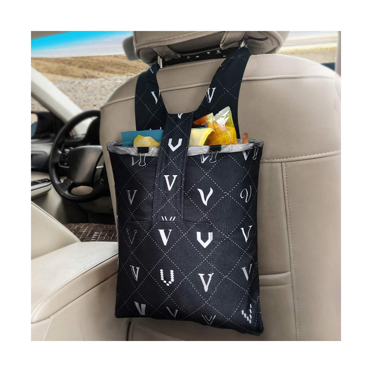 Car Trash Bag Hanging Front Seat, LENDOUBLE Waterproof Garbage Can for Auto with Small Storage Pockets Container, Foldable Travel Vehicle Waste Bin for Back Seat, Velcro Litter Bags for Headrest