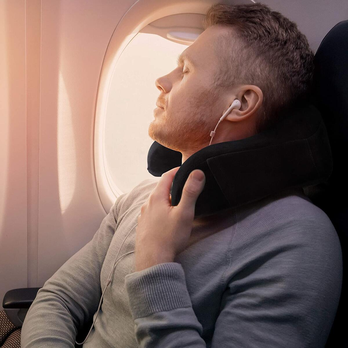 Sierra Concepts Travel Pillow - 100% Pure Memory Foam Neck Pillows for Airplane, Traveling, Car, Sleeping, Home - Velour Fabric with Side Pocket, ST100 Series Black