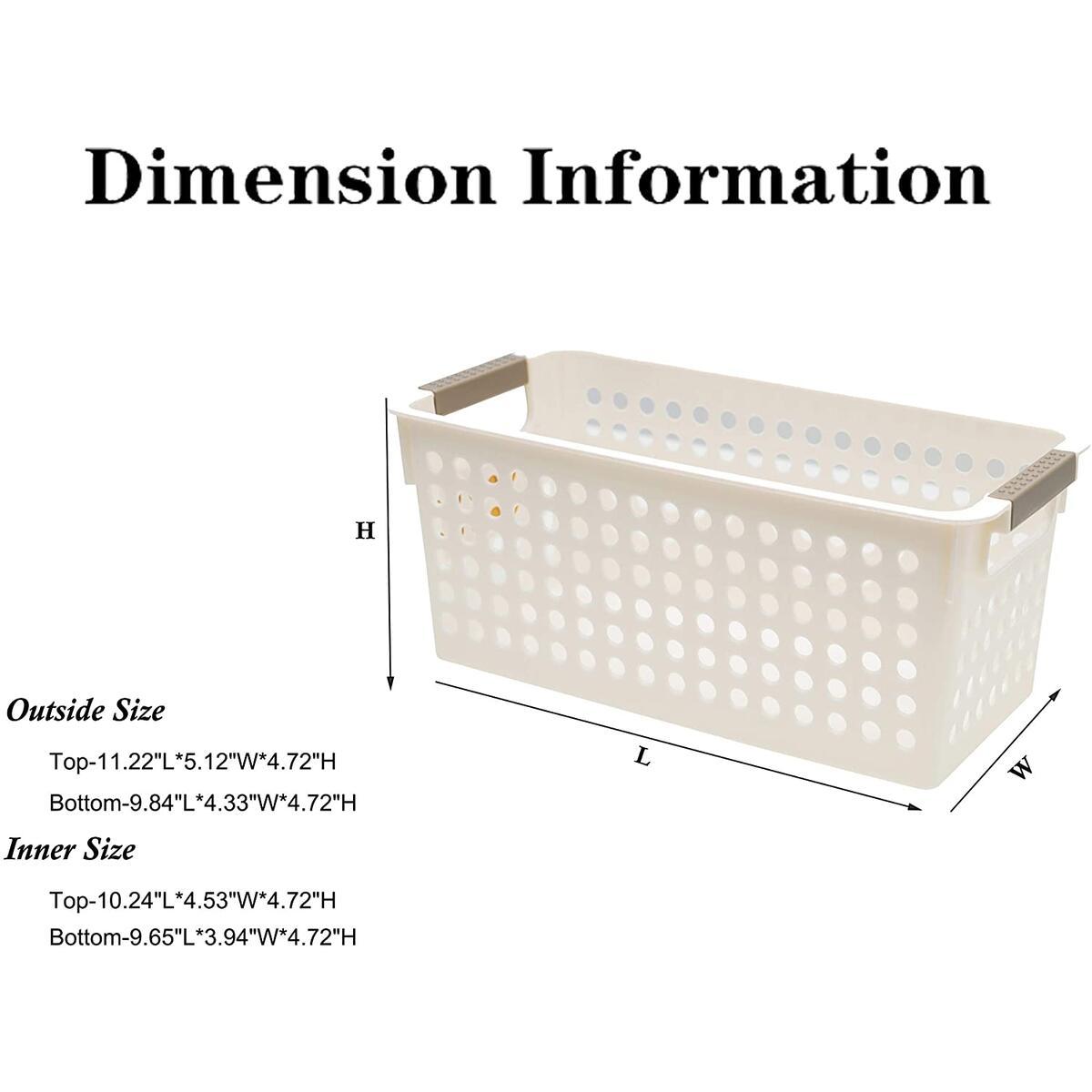 ITYLIFE CITYLIFE Small Plastic Storage Basket Bathroom Shelf Baskets Kitchen Organizing Pantry Storage Bins Off-White 6 PC