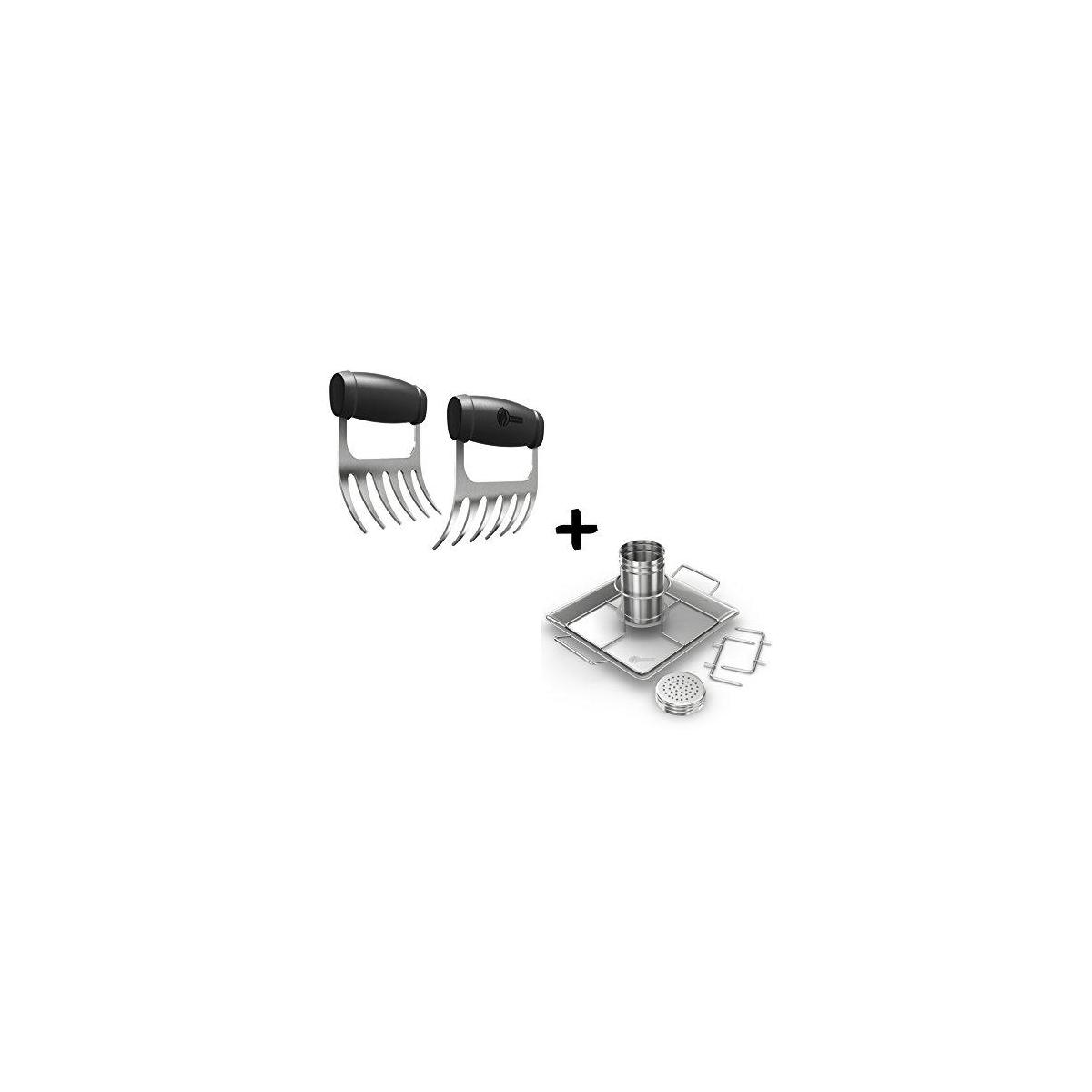 Cave Tools Meat Claws - Stainless Steel Pulled Pork SHREDDERS + Beer Can Chicken Roaster Rack - Includes 4 Vegetable Spikes - Vertical BBQ Roasting Holder for Grill Smoker or Oven - Dishwasher Safe