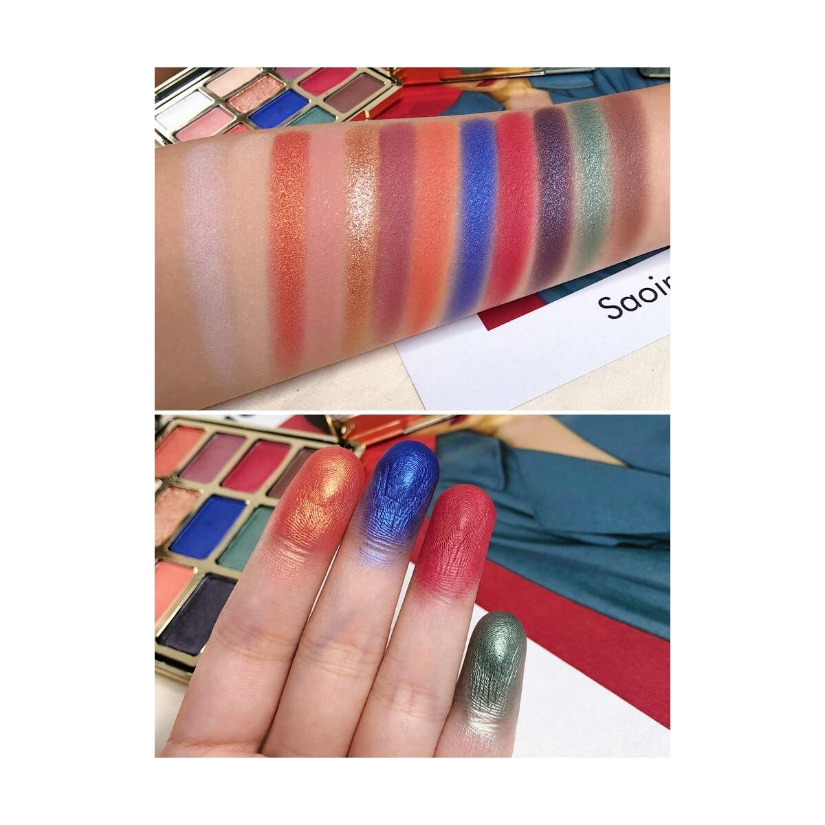 RomanticBird Febble Eyeshadow Diamond Glitter Metallic 12 Color Eyeshadow Palette, 03 / United States