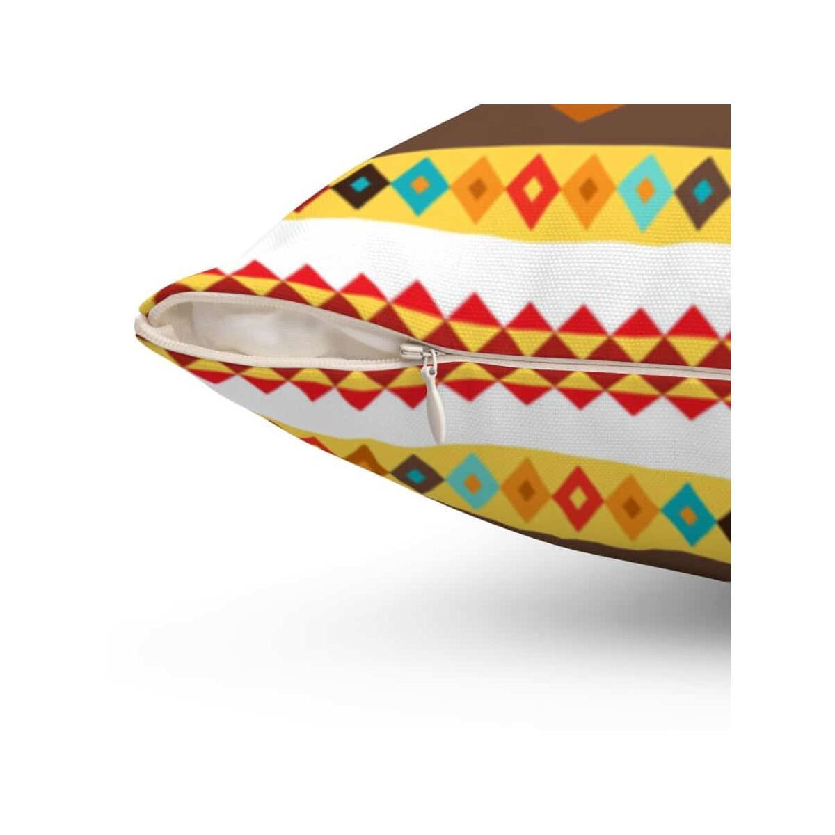 African Djembe Masks Spun Polyester Square Pillow, 20