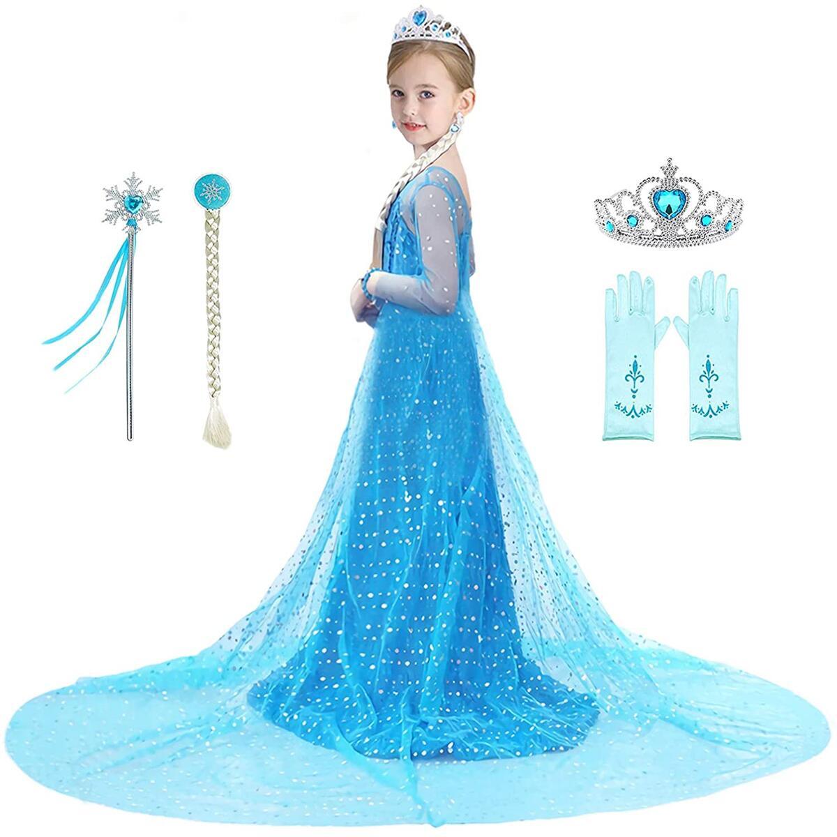 Bestier Girls Princess Dress Elsa Costume - Luxury Sequin Birthday Party Dress Up Girls 2-10 Years  (4-5 Years)