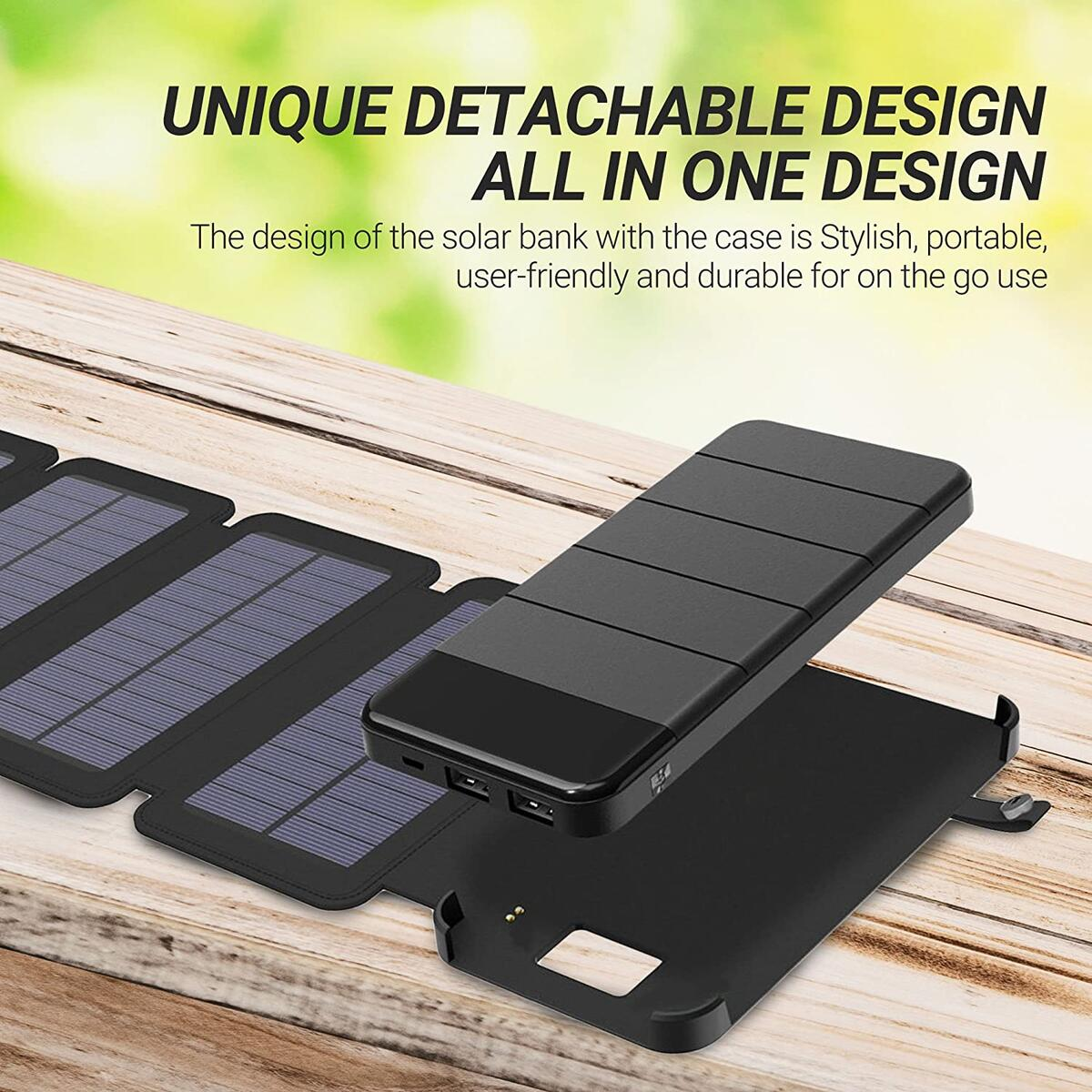 Solar Phone Charger 10.000mAh Power Bank - Portable Smartphone & iPhone Battery + Emergency Flashlight – (2) USB Ports + (4) Foldable Solar Panels - Fast Charging Smart IC Technology - Camping, Hiking