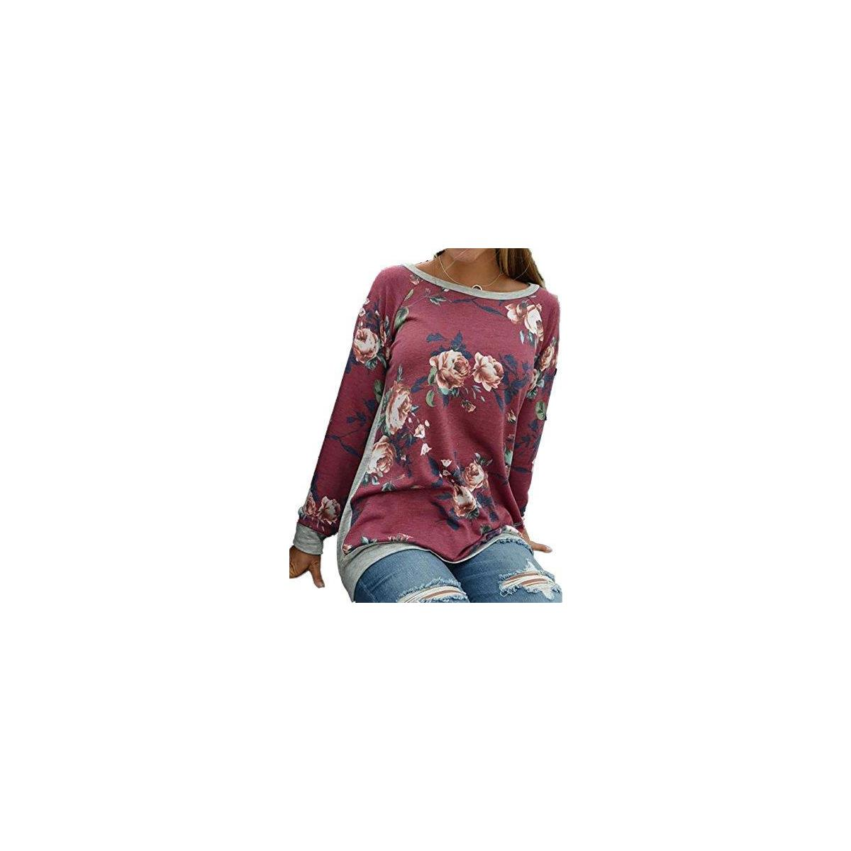 Women's O Neck Long Sleeve Floral Print T-Shirts Casual Blouse Tops
