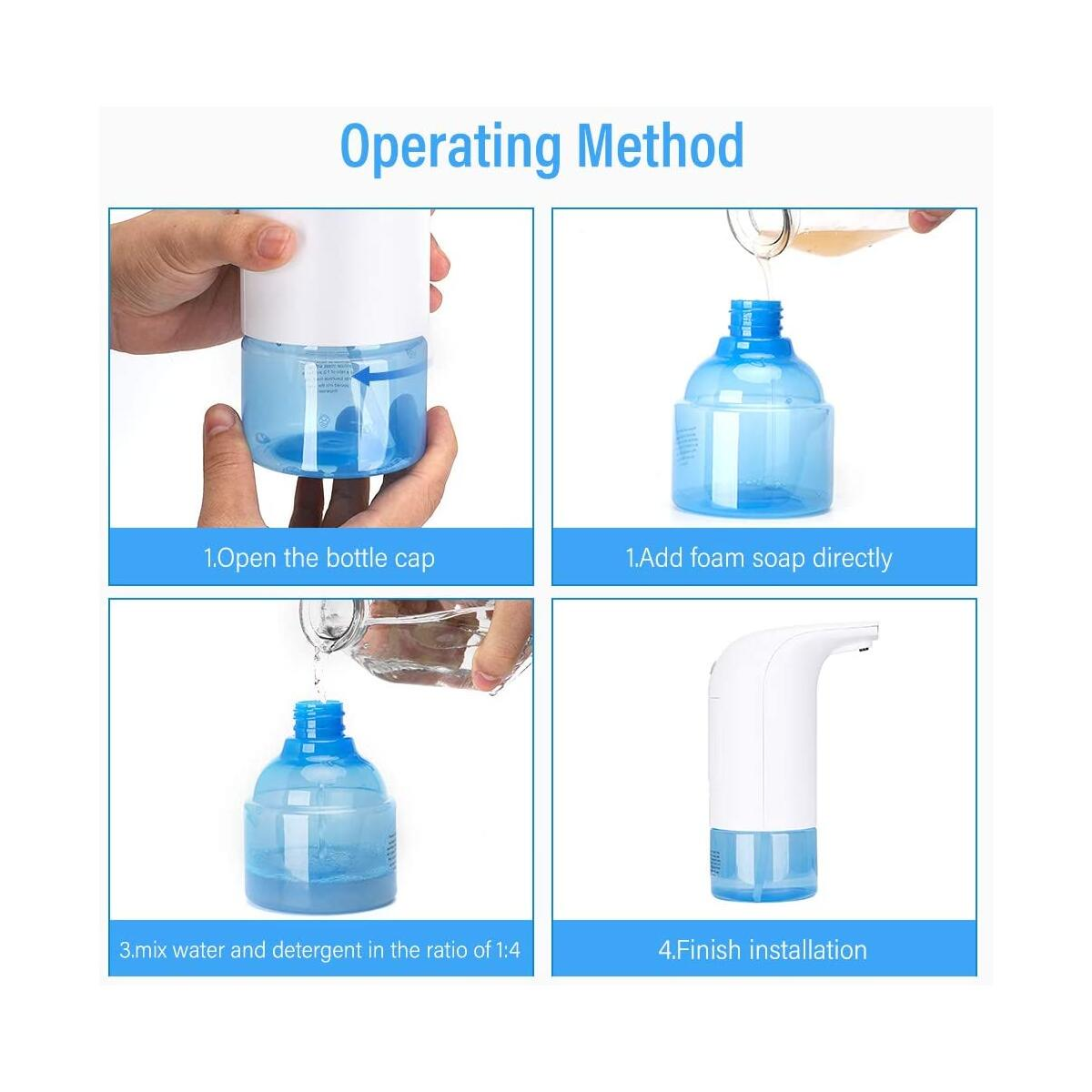 JEXICASE Touchless Soap Dispenser, 320ml/10.8oz Automatic Foam Soap Dispenser Suits for Kitchen/Bathroom Touch Free Soap Dispenser with Smart Sensitive Sensor White Hands Free Foaming Soap Dispenser