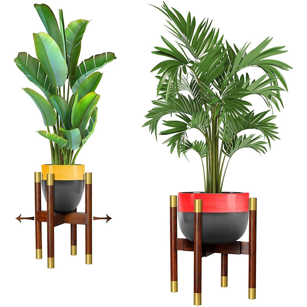 Mid Century Adjustable Plant Stand – Bamboo Indoor Planter Stand Extendable Size 8 to 12 Inches – Hand-Made Original Dark Brown and Gold Metal Plant Stand Effect- Modern Decor for Home and Office